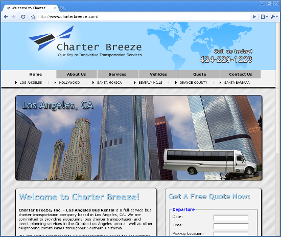 Charter Breeze - Los Angeles Bus Rental
