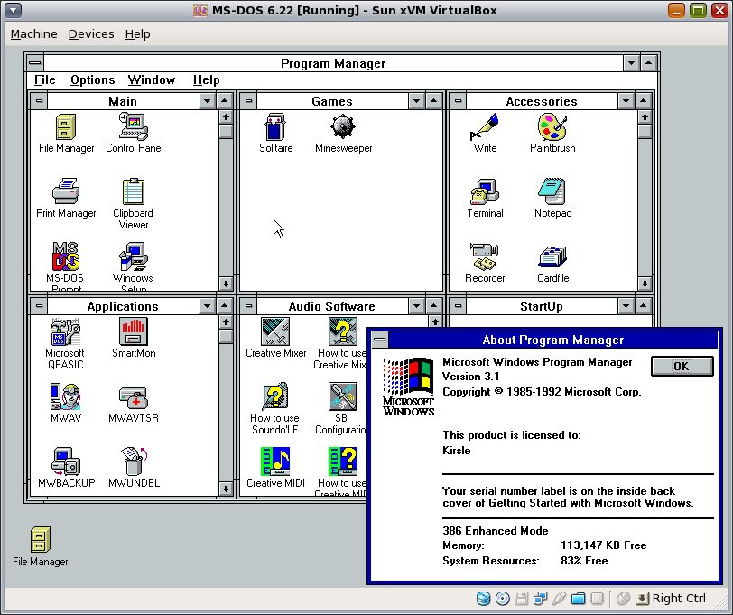Ms dos and windows 3 1 for 2 x 3 window
